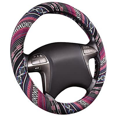 CAR PASS Pretty Ethnic Style Flax Cloth Universal fit Steering Wheel Cover, for Most of Vehicles,Cars,SUV,Vans,Fashionable and Anti-Slip Design: Automotive