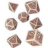 Q-Workshop Dwarven Beige & Burgundy RPG Ornamented Dice Set 7 Polyhedral Pieces