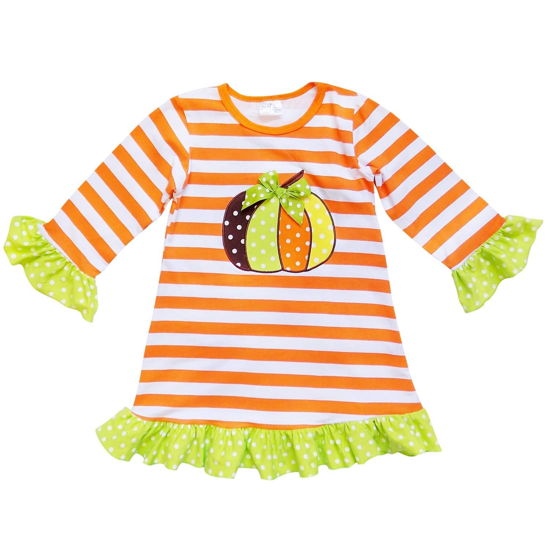 So Sydney Girls Toddler Fall Holiday Polka Dot, Scroll, Stripe Pumpkin Dress