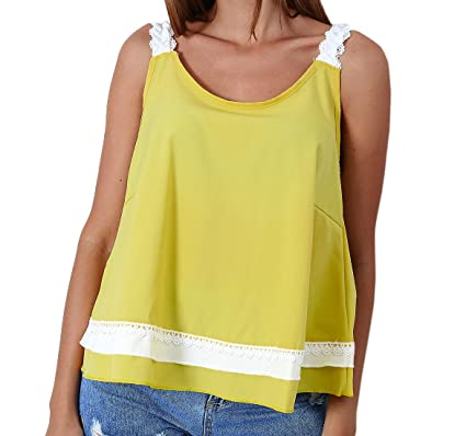 OUFour Verano Vest Mujeres Backless Corbata de Moño Camisetas Sin ...