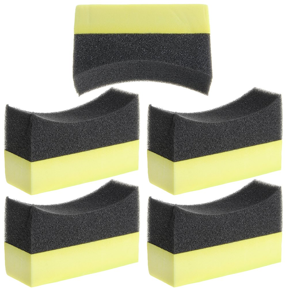 Bottone Professional Automotive Car Wheel Washer Tyre Tire Dressing Applicator Curved Foam Sponge Pad (5pcs)