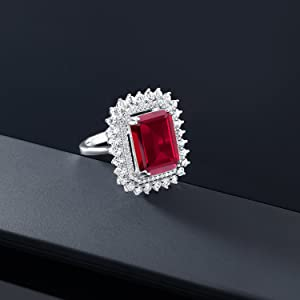 Gem Stone King 925 Sterling Silver Red Created Ruby Womens Solid Cocktail Ring 7.19 Carat 14X10MM Oval Available 5,6,7,8,9