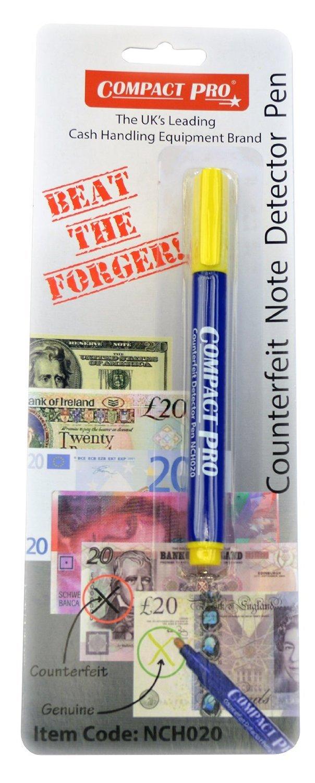 Compact, penna rivelatrice di banconote false Pacco da 5 Confezione da 5 Percy Group NCH032