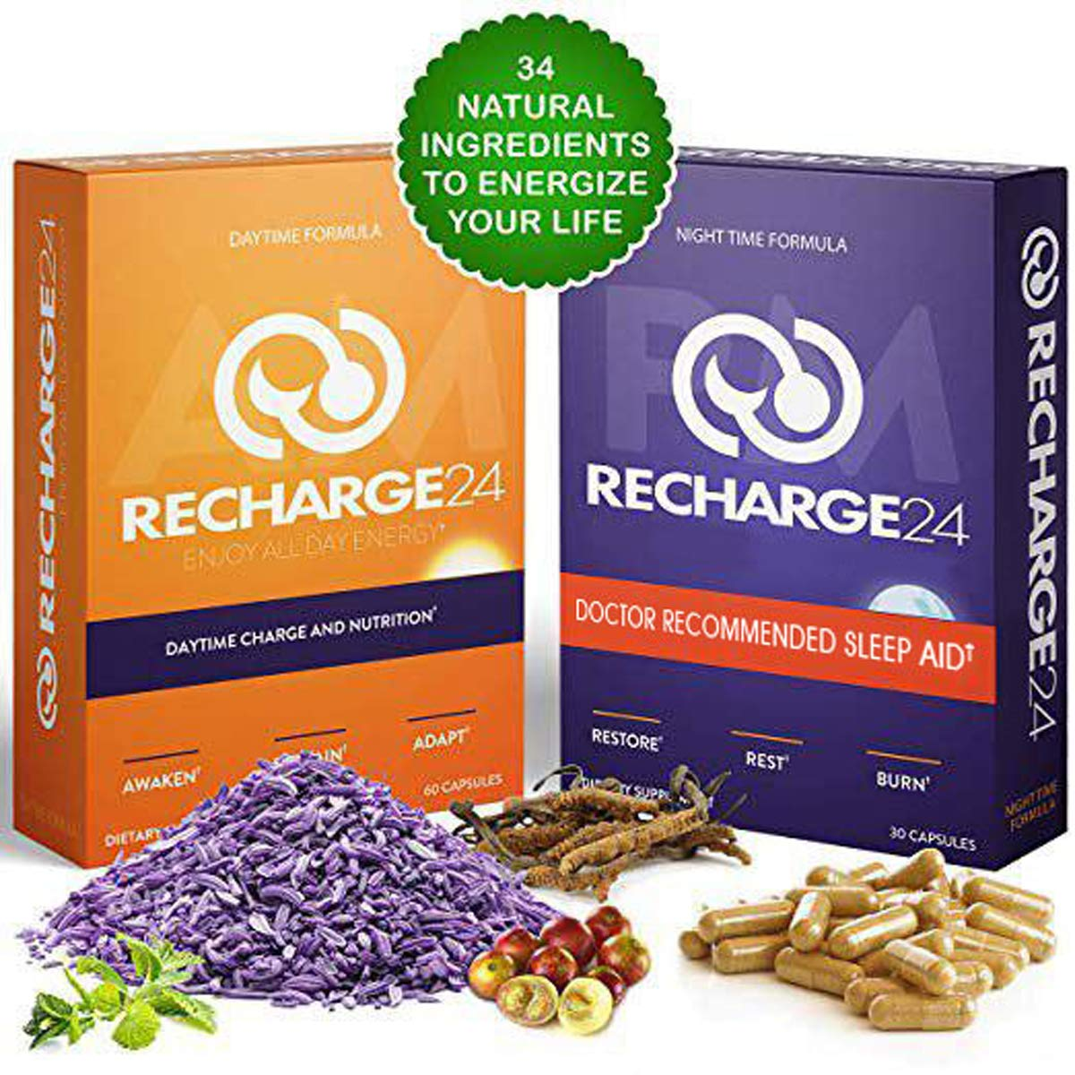 RECHARGE24 AM/PM Energy Pills and Sleep Aid, Non-Crash Sustained Performance, 100% Natural Herbal Blend with 200 mg Natural Caffeine, All Natural Sleeping Pills, 30 Day Supply by RECHARGE24