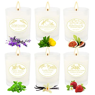 6 Natural Soy Wax Aromatherapy Candle with Essential Oil Scented Candles Set