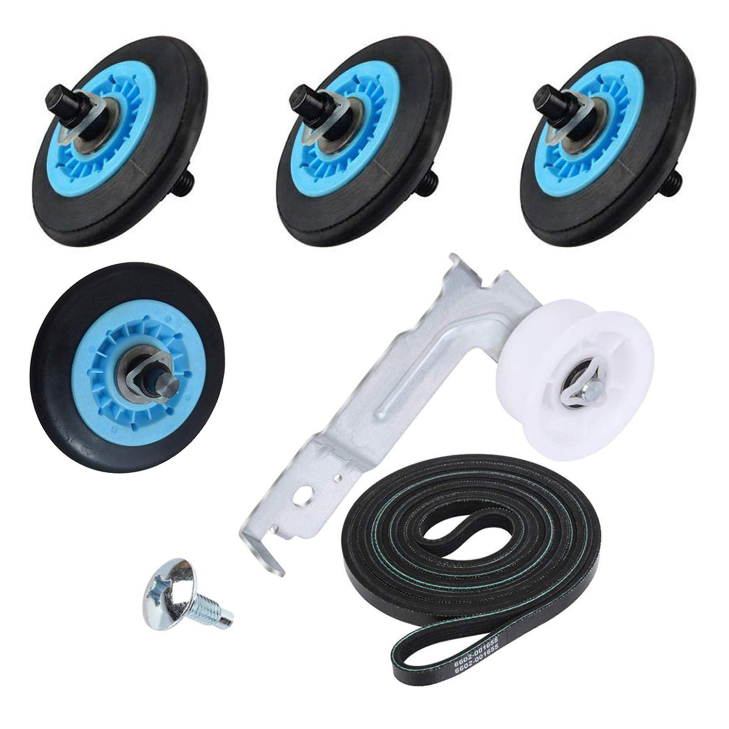 Dryer Repair Kit Is Compatible with Samsung Dc97-16782A Drum Support Roll, 6602-001655 Tension Belt, Dc93-00634A Idler Pulley Replacement Ap5325135 Ap4373659 Ap6038887 Ps4221885 Ps4133825
