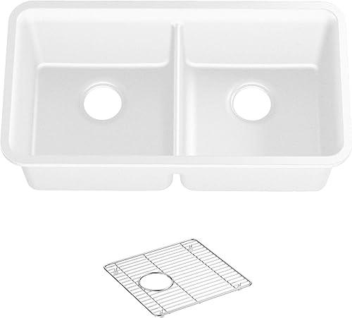 KOHLER K-8199-CM6 CAIRN Kitchen Sink, Matte White