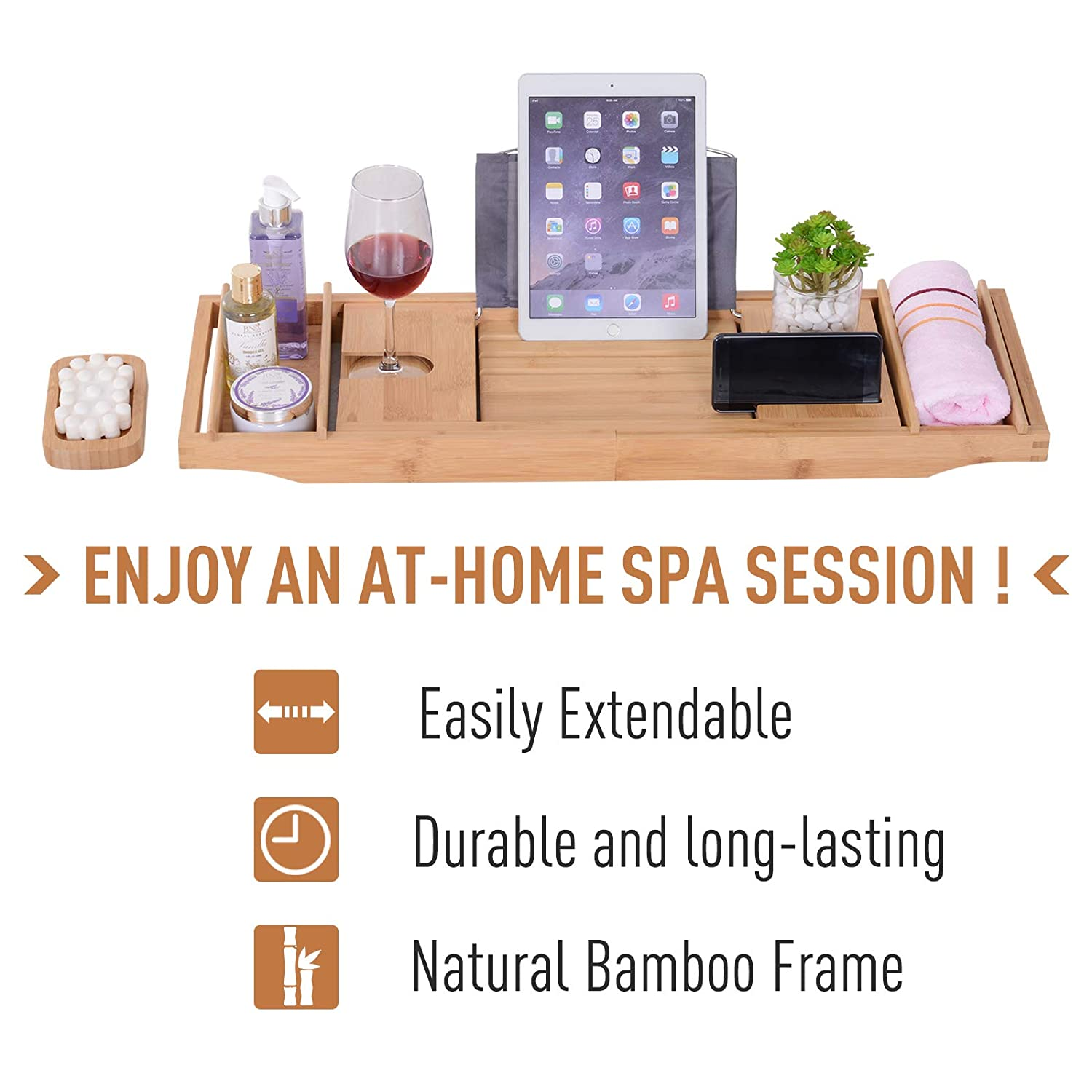 kleankin 42.5 Bamboo Bathtub Tray Bath Table Adjustable Caddy Tray with Extending Sides Cellphone Tray,Wineglass Holder and Additional Soap Holder Natural