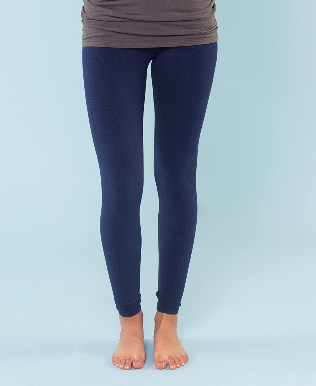 Ladies Full Length Fitted Yoga Pants Womens Organic Cotton Leggings Stretchy Solid Color Long Basic Bottoms