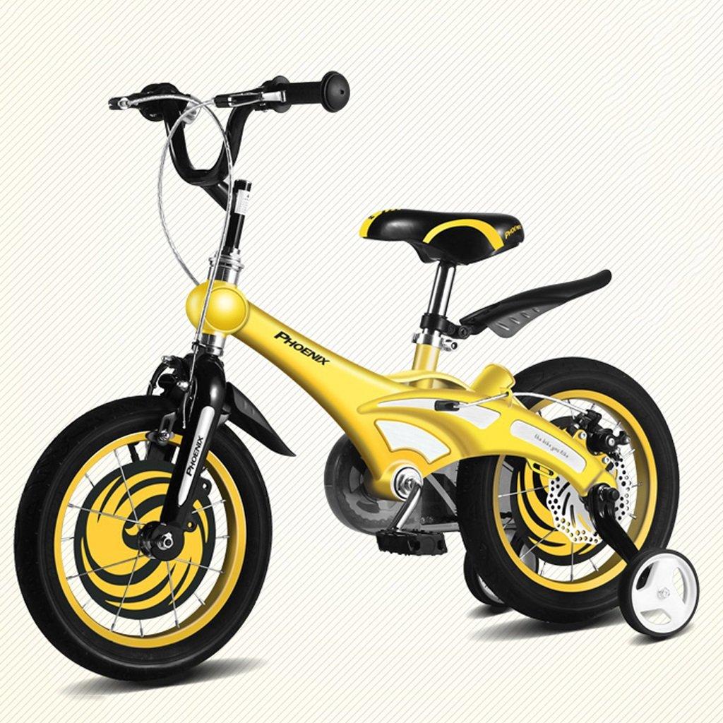 子供の自転車スタイリッシュな男の子と女の子の自転車3/6/8歳の子供たちが個々の子供の三輪自転車をサイクリングマグネシウム合金子供の屋外自転車 14 inch Yellow B07GCFWTHW