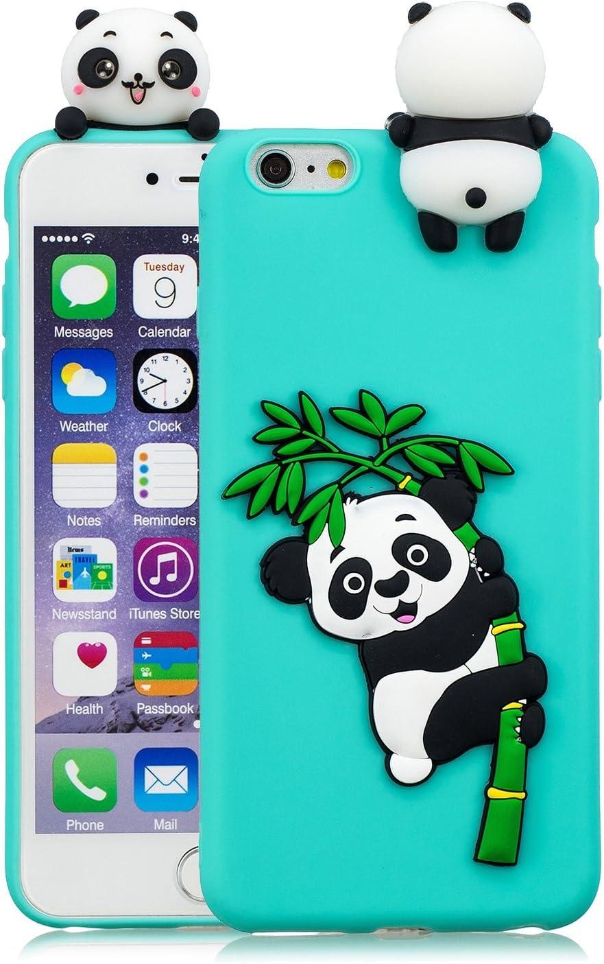Fnbk iPhone 6S//iPhone 6/Coque de protection en silicone gel 3d Dessin anim/é Motif panda en caoutchouc Housse de protection Light Blue Panda