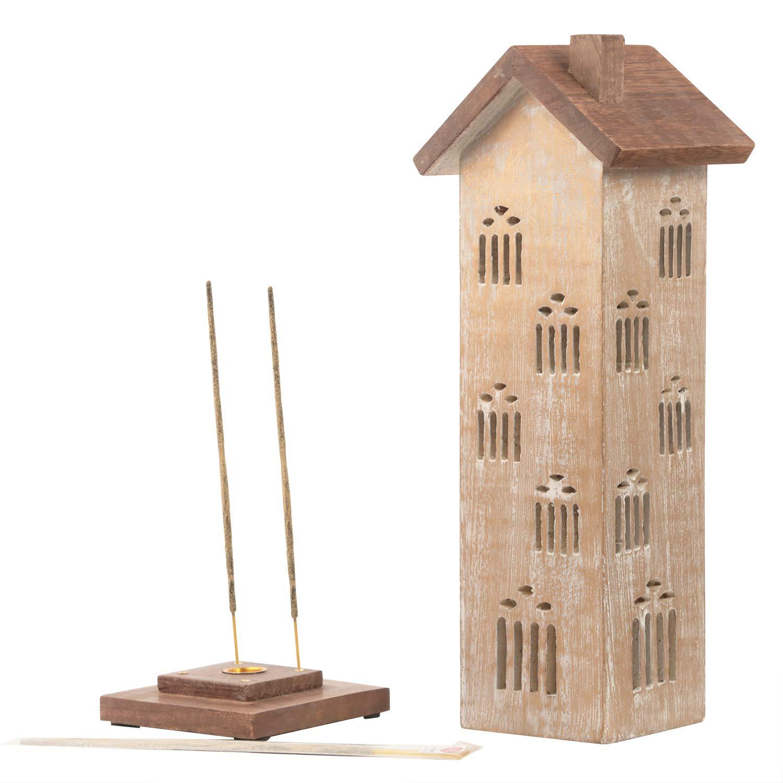 Indiaethnicity porta incenso in legno da torre con cero incastro decorativo 3 bastoncini di incenso organico Storeindya