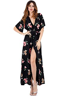 fdc7e82172c461 Escalier Women's Floral Maxi Dress Split Beach Flowy Party Dresses with Belt