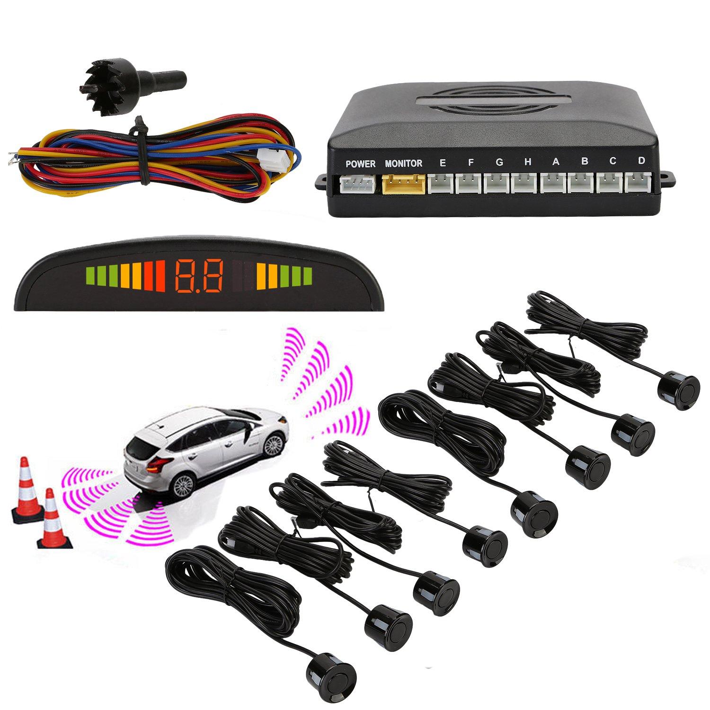 Sensores de aparcamiento,OSAN LED Kits de Detector de Radar Marcha y Atras con 8 Sensores Negro