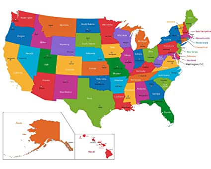 Amazon.com: Home Comforts Laminated Map - USA Map Detailed Reference on