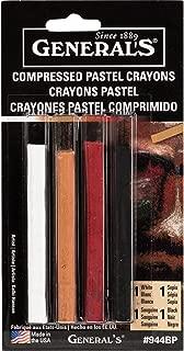 product image for General Pencil Compressed Pastel Crayons 4/Pkg-1 White/1 Sepia/1 Sanguine/1 Black