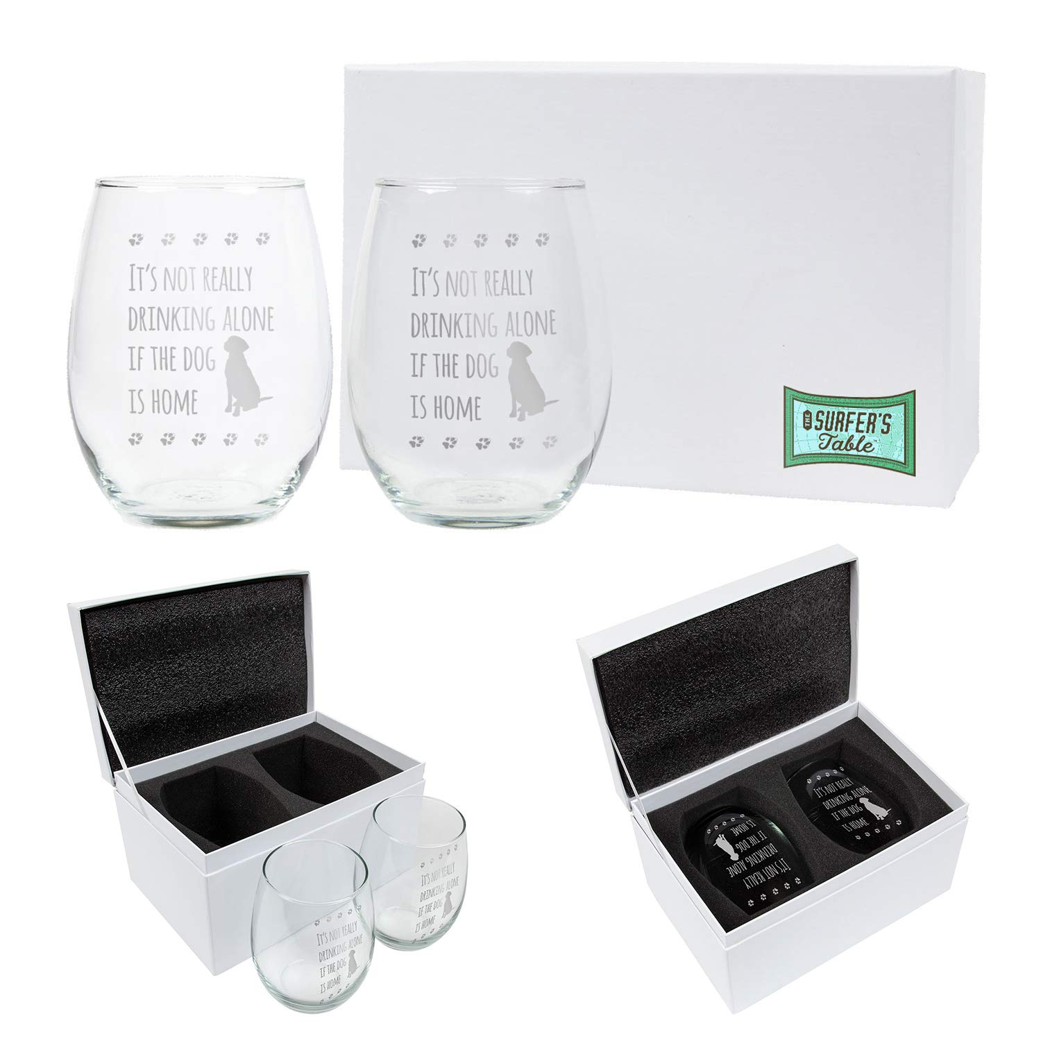 It's Not Really Drinking Alone if the Dog is Home Wine Glass Gift Set, 2 – 21oz Hand Etched Stemless Wine Glasses Packed in a Stylish Gift Ready Box, The Perfect Dog Themed Wine Gift for Dog Lovers