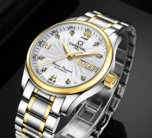 Amazon.com: Mens MIYOTA 21 Jewels Automatic Movement Blue Tritium Light Transparent Cover Gold Watches White: Watches