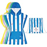 Kids Poncho Microfibre towel (Blue, Small) - hooded changing robe swim poncho, quick dry & compact