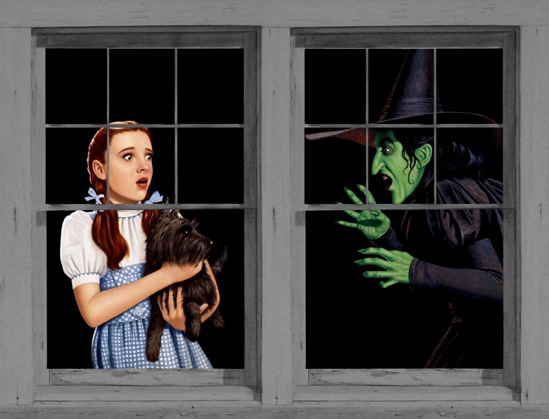 amazoncom wowindow posters dorothy wicked witch halloween window decoration two 345x60 posters window decorations for halloween posters prints - Halloween Window