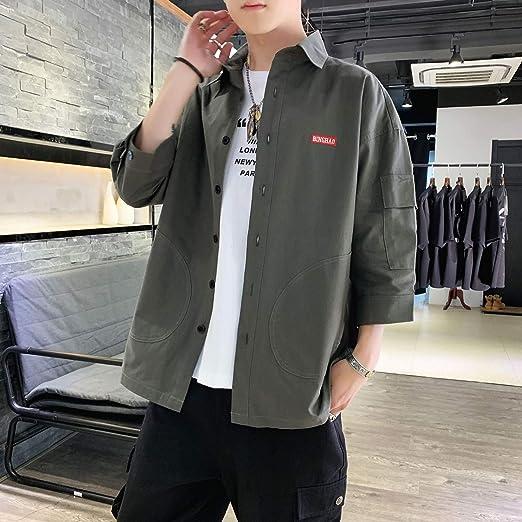 GSHGA XXGCamisa de Doble puño para Hombre, Camisa Formal elástica Camisas Casuales con Botones sólidos, gastadas con Corbatas o Atuendo de Fin de Semana o Camisa Casual de Oficina de Viernes: Amazon.es: