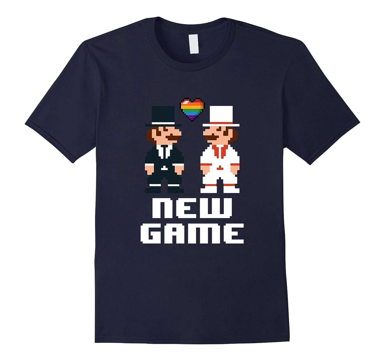 Mens New Game Newlyweds Gay Gamer LGBT Wedding T-Shirt-CD