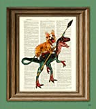 Amazon Price History for:Cavedog the Corgi rides a Velociraptor Dinosaur dog original art vintage dictionary page book art print
