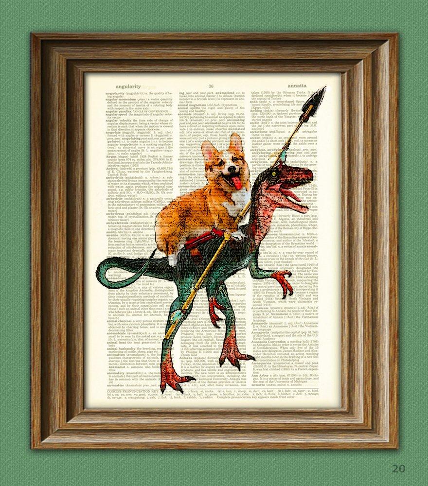 Cavedog the Corgi Rides a Velociraptor Dinosaur Dog Original Art Vintage Dictionary Page Book Art Print 3