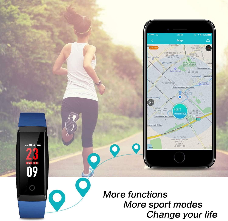 HETP Montre Connect/ée Cardiofr/équencem/ètre Bracelet Connect/é Podom/ètre GPS Fitness Tracker d/'Activit/é Tension Art/érielle Smartwatch Sport Femme Homme /Étanche IP67 Montre Cardio pour Android iOS