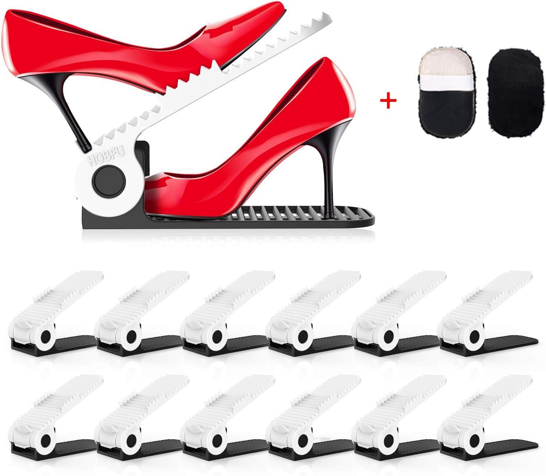 HOBFU Einstellbare Schuhregale 12 St/ück Schuhhalter Space Saver Schuhregal 4-Level H/öhe f/ür M/ädchen Schuh-Organizer Schuhstapler Damen und Familie