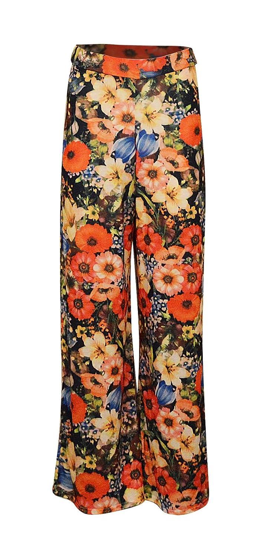 New Womens Ladies Elasticized Waist Pattern Printed Pallazo Pants Trousers
