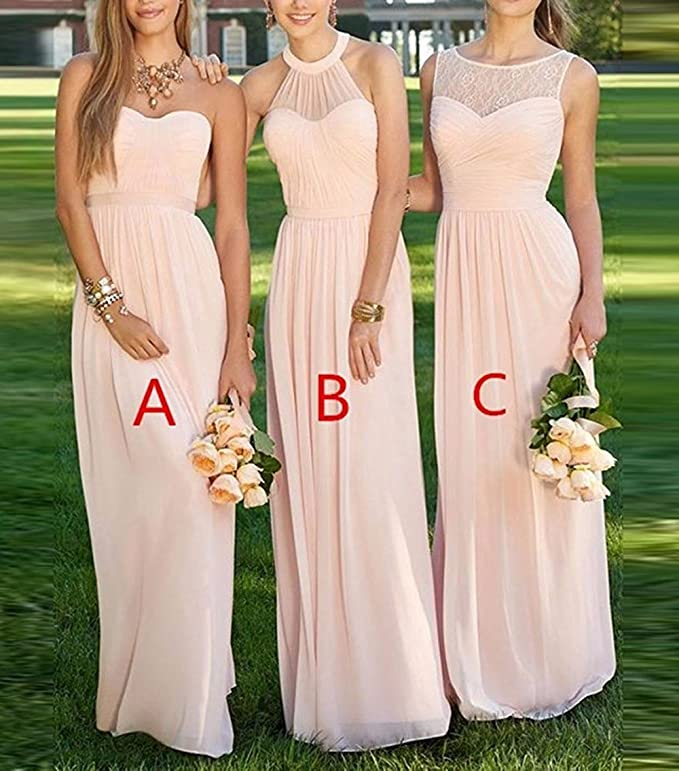 Cdress Womens Lace Halter Chiffon Long Bridesmaid Dresses Prom Gowns Party Gowns Formal Dress at Amazon Womens Clothing store:
