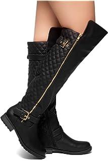 a34215a48ae Herstyle Neekkaa Women s Boots Quilted Buckle Decor Over Knee Zipper Riding  Biker Boots