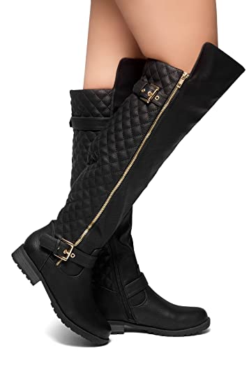 9c2f4ea7f Herstyle Neekkaa Women's Boots- Quilted Zipper, Buckle Over Knee Riding  Boots Black 6