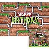 Allenjoy 7x5ft Anime Kids Birthday Party Backdrop Cartoon Red Brick Wall Water Pipe Ninja Tortoise Boy Newborn Baby…
