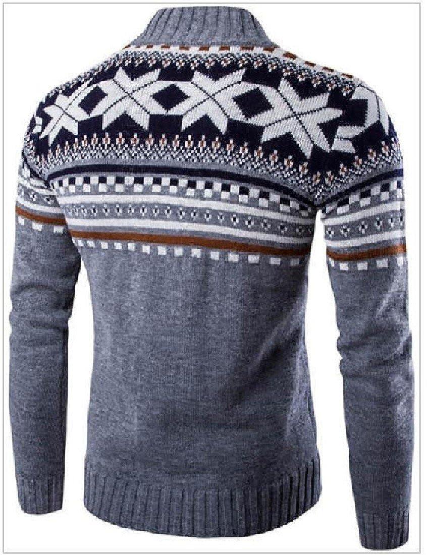 DressUMen DressU Mens Stand Collar Geometric Shape Pattern Stylish Knit Cardigan