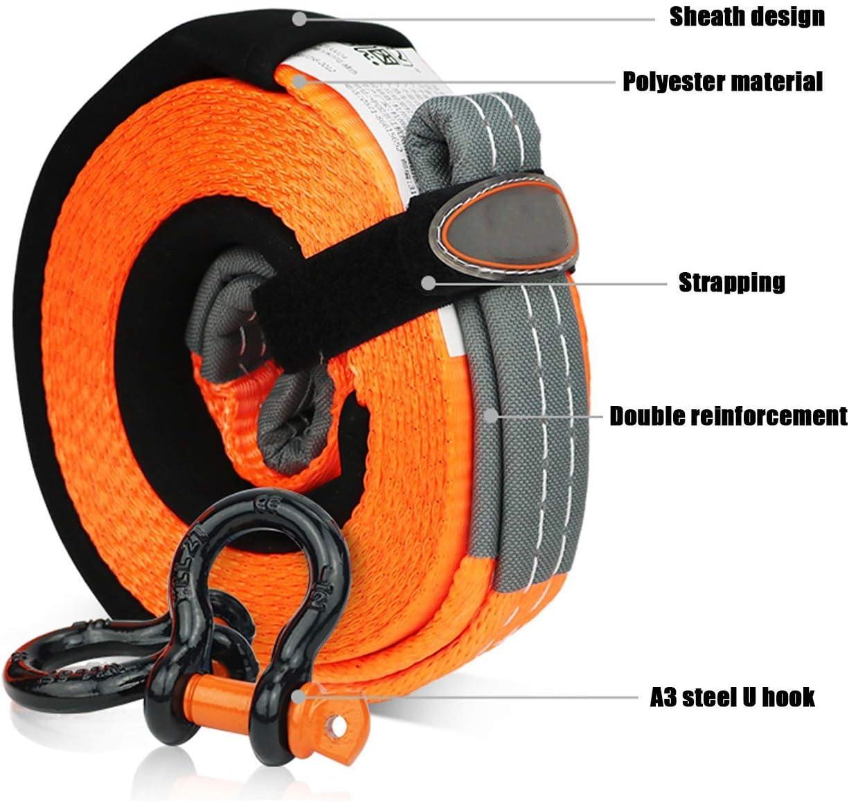 Knoijijuo Cin/ética Cuerda de Remolque Cable de Remolque Remolque Correa Coche 4x4 con 2 Ganchos de Seguridad y Bolsa de Almacenamiento para el Coche//SUV,5m//5t