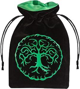 Q-Workshop Forest Black & Green Velour Dice Bag