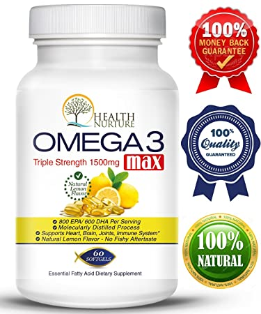 HEALTH NURTURE FISH OIL OMEGA-3 **Maximum Strength 1500mg (800 EPA/