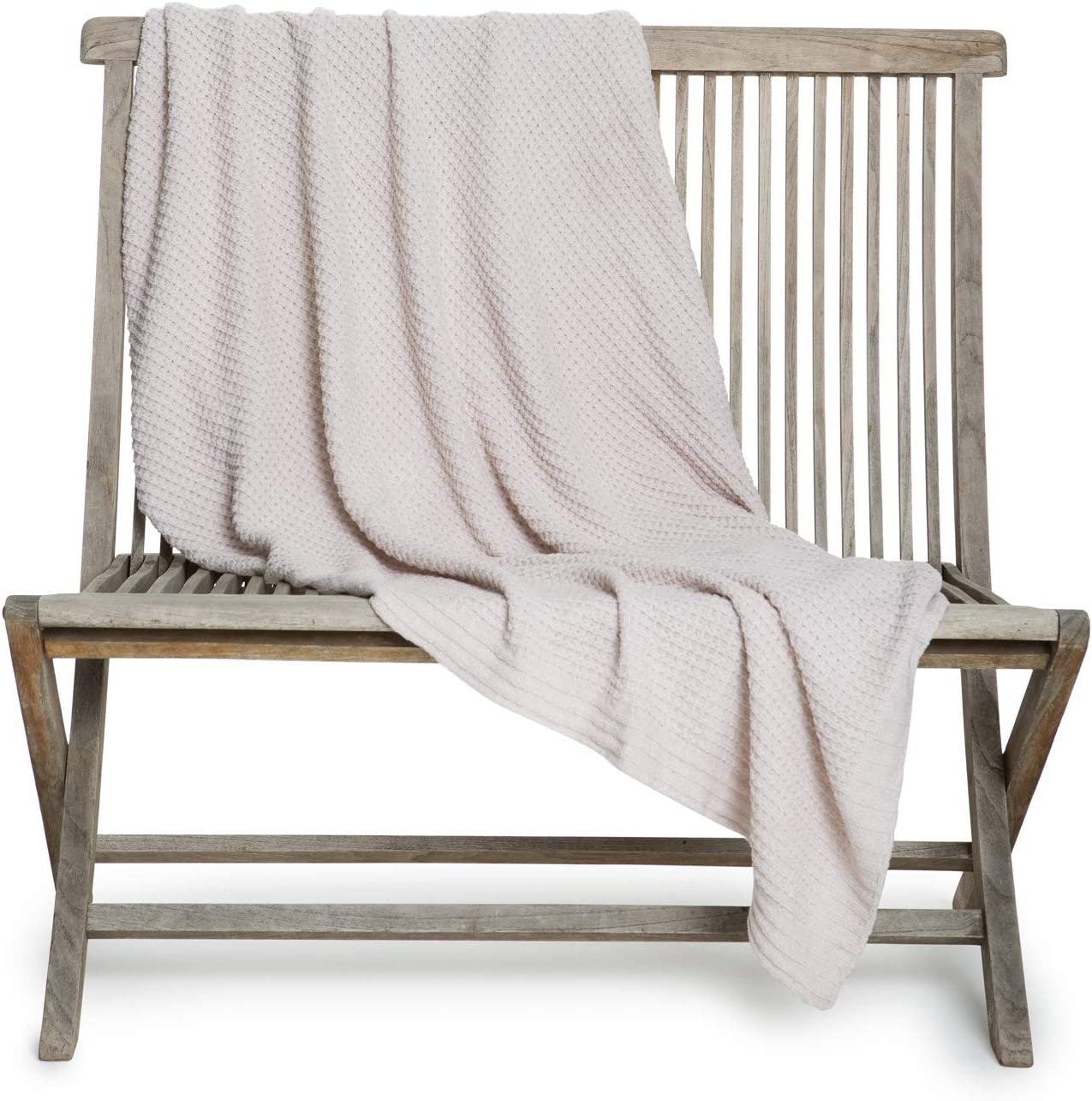 Barefoot Dreams Waffle Throw Blanket Heathered, Home Accessories, Hand Knit Look , Oatmeal