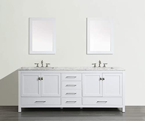 Eviva EVVN412-84WH Aberdeen 84 inch White Transitional Double Carrara Marble Countertop and Undermount Porcelain Sinks Bathroom Vanitie