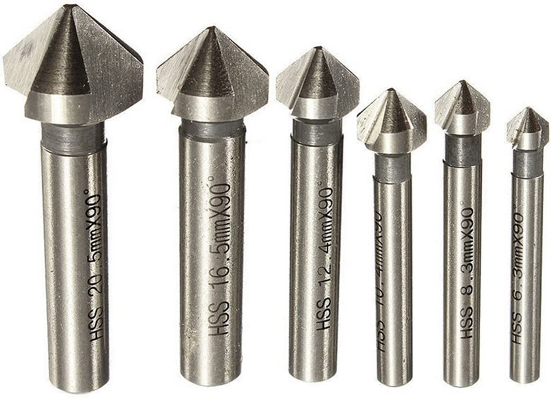 Juego de Brocas para Madera Metal Aluminio Wisfor 6PCS Brocas Avellanadoras 90/° /Ø 6.3mm // 8.3mm // 10.4mm // 12.4mm // 16.5mm // 20.5mm Material HSS 4241
