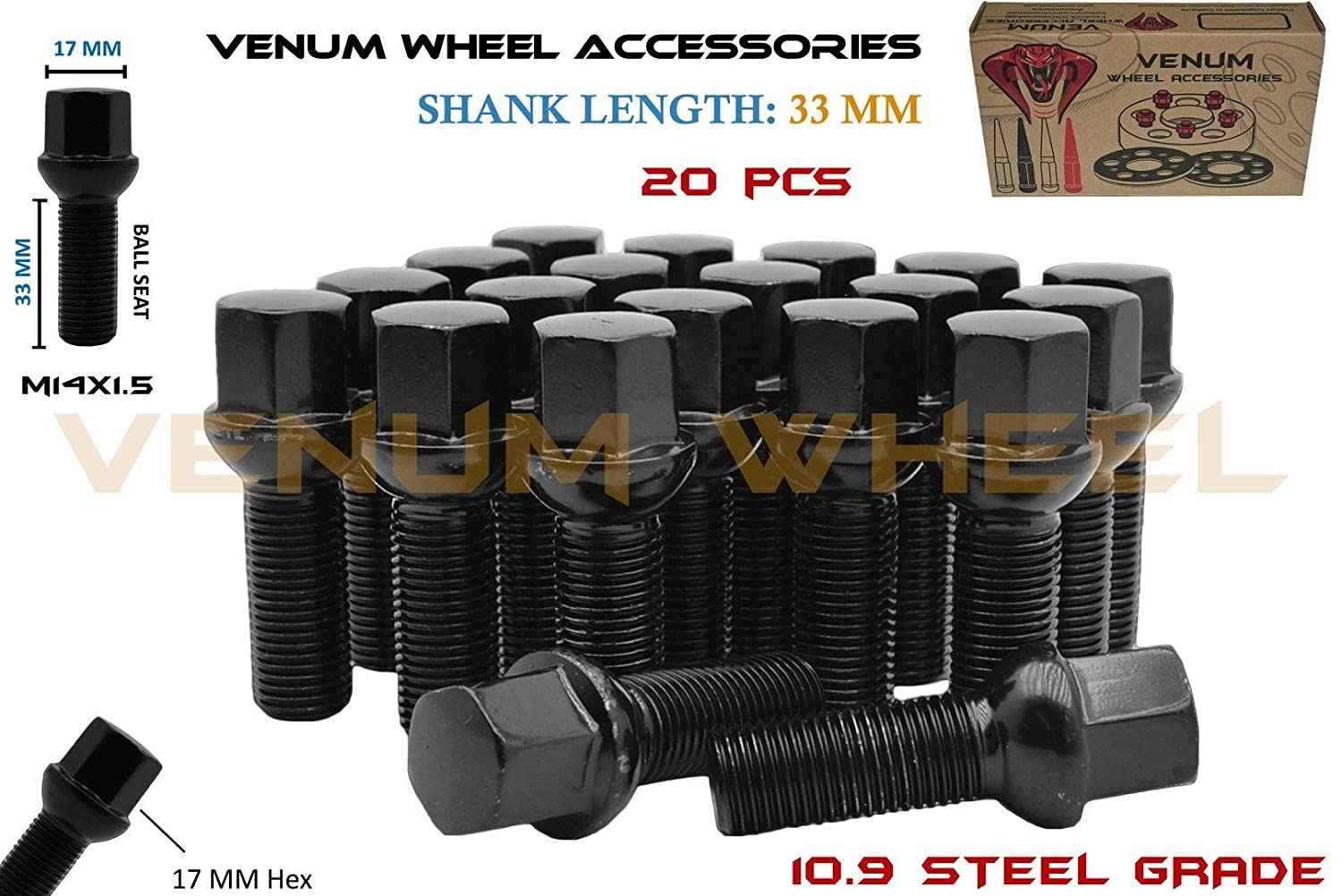 ball seat Extended Wheel Bolts M 14x1.5 40 mm Thread Radius for AUDI 16 pcs