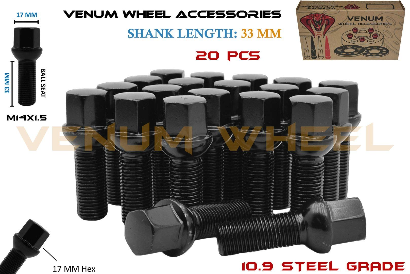 Venum wheel accessories 20Pc Black Powder Coated M14x1.5 Ball Seat Lug Bolts 33 mm Extended Shank Length Radius Works with Volkswagen Audi Mercedes Benz Porsche Vehicle W/Factory Wheels by Venum wheel accessories