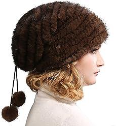 80b46df489b FURTALK Real Knitted Mink Fur Hat Women Winter Fur Hats Slouchy mink fur  hats for women