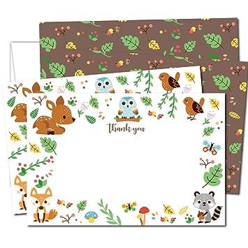 Amazon.com: Gooji Woodland - Tarjetas de agradecimiento, 4 x ...