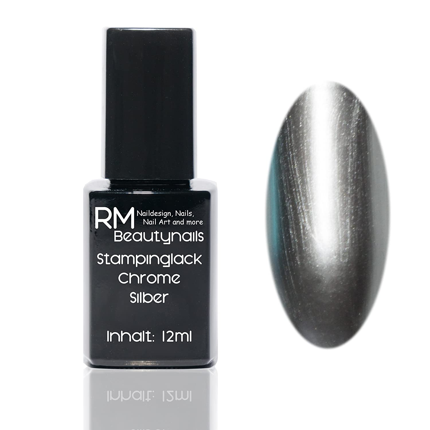 Chrome Effekt Stampinglack Silber 12ml Stamping Lack Nagellack Nail Polish RM Beautynails