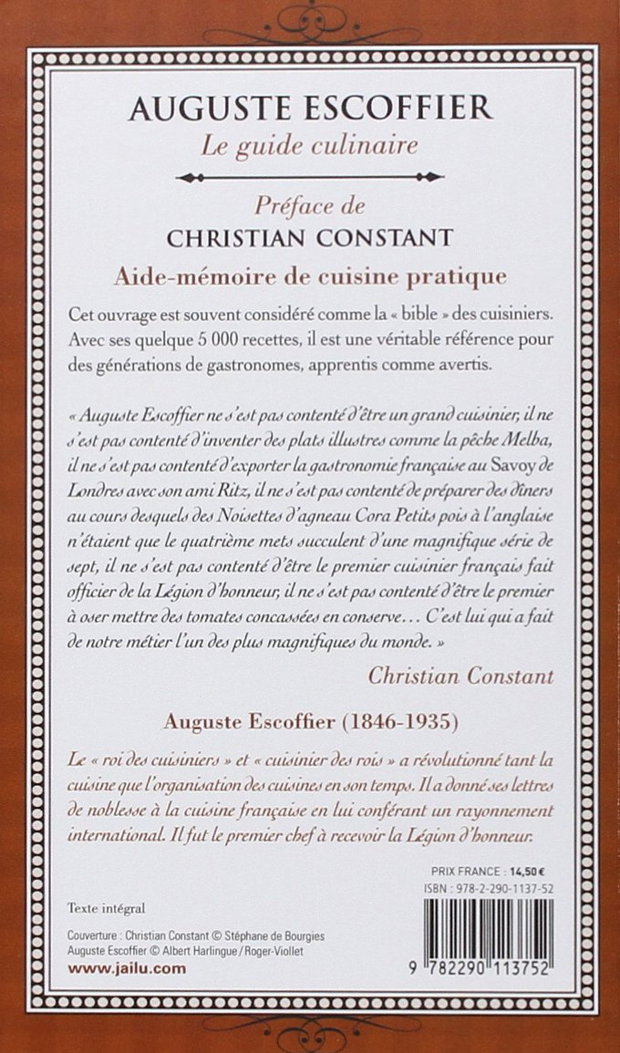 le guide culinaire d escoffier french edition escoffier rh amazon com escoffier le guide culinaire escoffier le guide culinaire flammarion