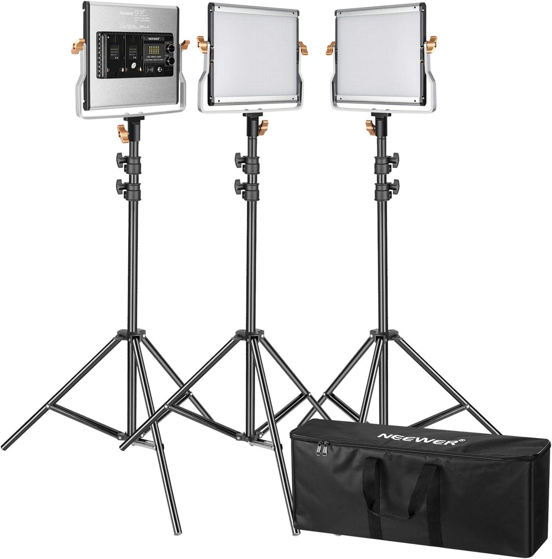 3200-5600K CRI 96 Neewer 3er Pack Dimmbare zwei Farbige 480 LED Videoleuchte und Stativ Set LED Panel 200cm Licht Stativ und gro/ße Tragetasche f/ür Studio YouTube Video im Freien-Fotografie