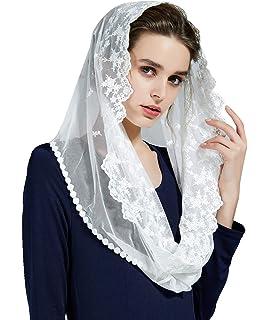 Mantilla De Encaje Española Mujer Capilla Velo Pañuelo de Iglesia Católica Bordado Chal Bufanda Negra Blanca V104: Amazon.es: Ropa y accesorios
